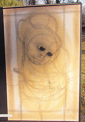 "Original Ben Macala Drawing- ""Portrait of A Woman""  (Soweto Artist) 39""x25"""
