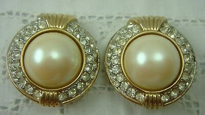 Vintage Donald Stannard Faux Pearl Pave Rhinestone Large Domed Clip Earrings