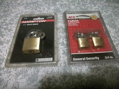 "Brass Padlocks 3: Hampton 1-1/4"" # PB30S, Ace Hardware 3/4"" (#5232186) Free Ship"