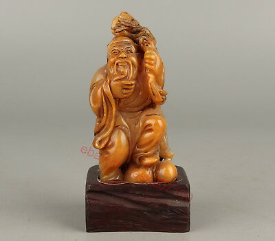 Chinese Exquisite Hand carved Old man carving Shoushan Stone seal