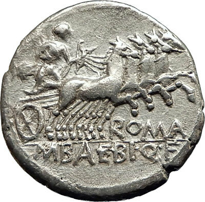 Roman Republic 137BC Rome Apollo Chariot Original Ancient Silver Coin i74526