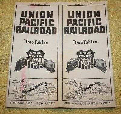 Vintage 1939 Union Pacific Railroad - Railroad Timetable