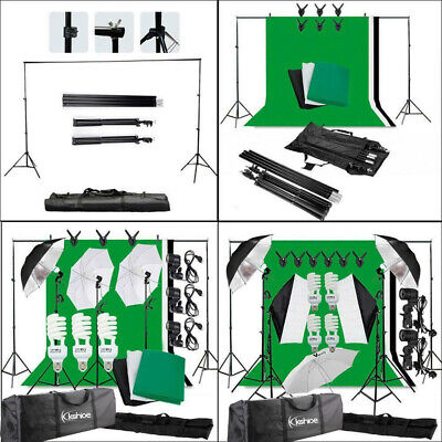 Photography Studio Lighting Kit Photo Softbox Backdrops Background Umbrella Set