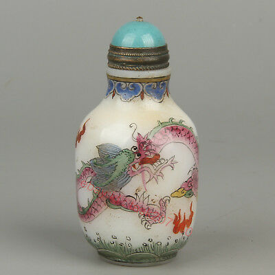 Chinese Exquisite Handmade Dragon pattern Glass snuff bottle