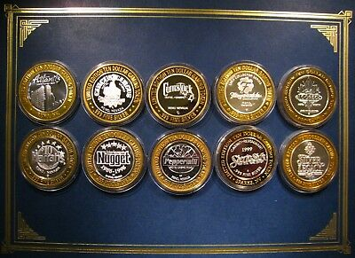 (10) Different Mint Uncirculated Reno .999 $10 Silver Strikes