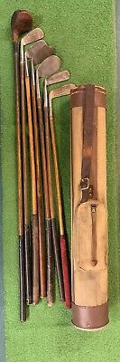 Antique hickory wood shaft Golf Clubs and Vintage Stovepipe Bag