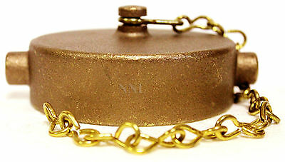 "2-1/2"" Brass Cap and Chain NST - for Fire Hose or Hydrants"