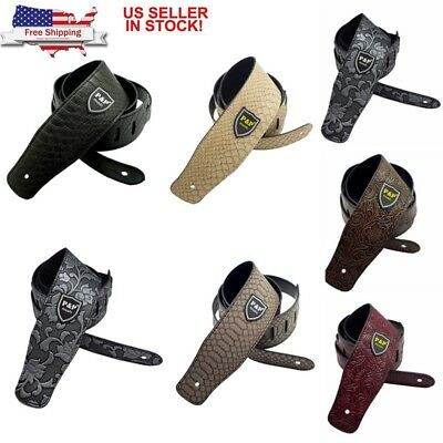 US Classic Soft PU Leather Guitar Acoustic Electric Basses Luxury Guitar Straps
