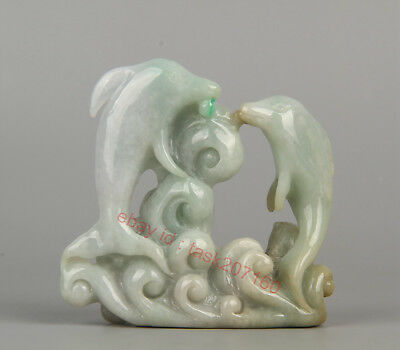 Chinese Exquisite Hand carved Two dolphins Carving jadeite Jade statue