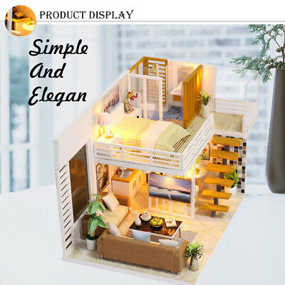 Funny DIY Wooden Doll House Miniature Kit Kids Bedroom Dollhouse Model Toy Gifts