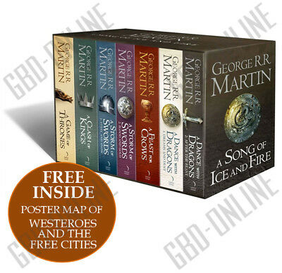 A Game of Thrones The Story Continues Complete Boxset of All 7 Books w/ Map