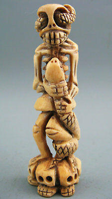Antique Cattle Bone Hand-Carved Human Skeleton and Viper snake Netsuke Statue