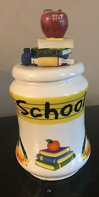 """White School Cookie Jar With Apple And Books On Lid Approx 8.5"""" Tall"""