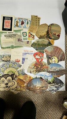 Vintage Paper Fan Mixed Lot and other ephemera Advertising Insurance Funeral etc