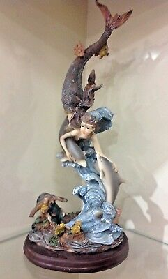 """MERMAID WITH DOLPHINS AND TURTLES FIGURINE 13"""" x 5"""" x 5"""" NEW"""