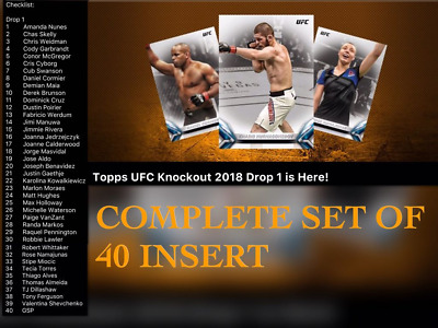 2018 TOPPS KNOCKOUT DROP 1 COMPLETE SET OF 40 Topps UFC Knockout Digital Card