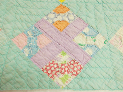 Vintage Antique 1930 DISTRESSED TEAL BOW TIE HAND STITCHED CUTTER Quilt PC 40X40