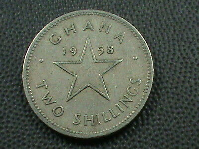 GHANA   2 Shillings   1958   ,   $ 2.99  maximum  shipping  in  USA