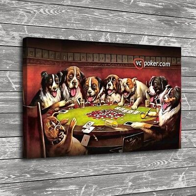 //Dogs Playing Poker #04124 No frame 18x24 HD Canvas print Home decor painting