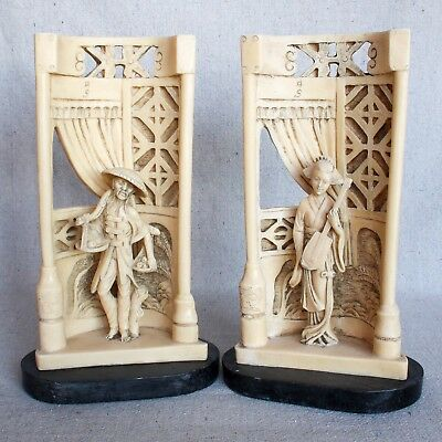 Vintage Chinese Asian Hollywood Regency Faux Bone Resin Bookends Sculptures 10""