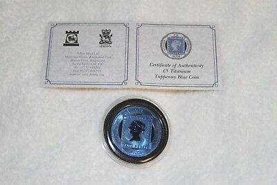 Gibraltar 2000 Two Pence Blue Stamp Five Pounds Titanium Coin in Capsule + COA