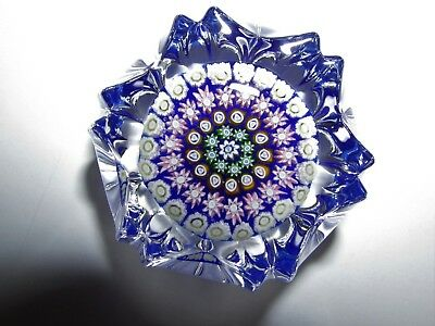 Perthshire Art Glass Faceted Cut Millefiore Paperweight #222