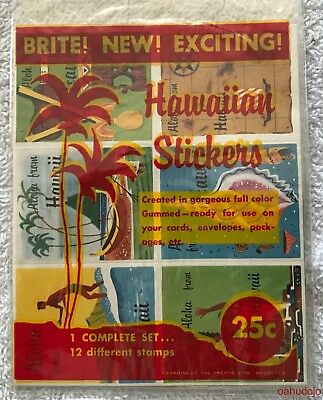 Paradise Of The Pacific HAWAIIAN STICKERS Complete Set 12 Different Stamps 1960s