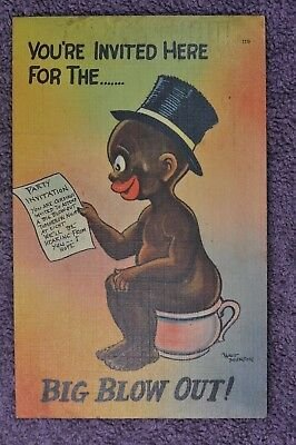 You're Invited Here For The .. Big Blow Out -  Black Americana  Post Card - 1942