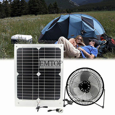 10W  Solar Panel & Fan RV Touring Car Camping Pet Chicken House Ventilator