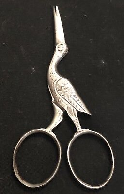 Antique Likely German Stork Embroidery Scissors - Unique Tail Feather Design