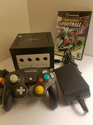 Nintendo GameCube Jet Black Console with  controller, Cords and  Game. Clean