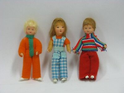 Dollhouse Miniature Irna Meyer-3 Children Vintage 3 1/4 Inch Dolls-2 Boys 1 Girl