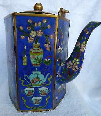 CLOISONNE CHINESE TEA POT / RARE ANTIQUE /EARLY 1800s ASIAN ART***REDUCED 27%***