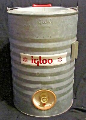 Rare Vintage / Antique Igloo 3 gallon Galvanized Water Cooler Made In Houston TX