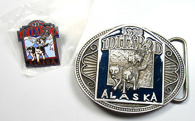 1998 Iditarod Dog Sled Race Belt Buckle and Pin