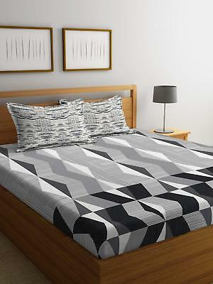 Geometric Printed Fitted Sheet 144 Tc Super King Double Cotton Bed Sheet Cover