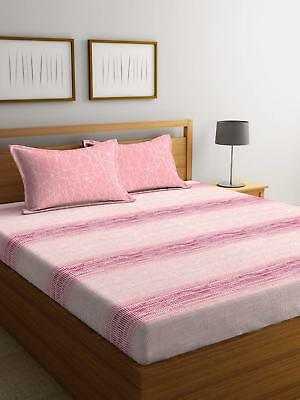 Printed Fitted Sheet 144 Tc Super King Size Double Cotton Bed Sheet Bed Cover
