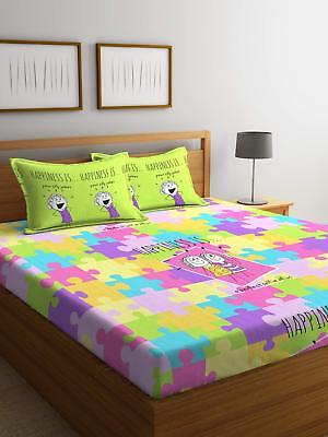 Printed Fitted Sheet 104 Tc Double Cotton Bed Sheet Bed Cover