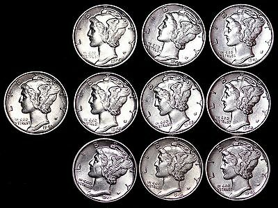 Lot of 5 Coins AU / UNC Mercury Silver Dimes Some D and S Mint FREE SHIPPING