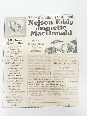 Vintage Mail In Paper Coupon Jeanette Macdonald Nelson Eddy Tv Album Music Duo
