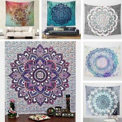 BL_ Indian Tapestry Wall Hanging Mandala Hippie Bedspread Throw Bohemian Cover G