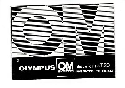 Olympus Om System T20 Electronic Flash Operating Instructions Manual