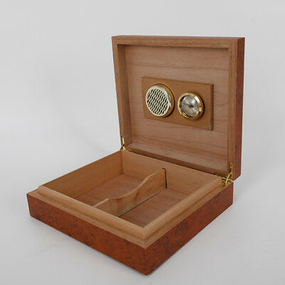 Cedar Wooden Lined Cigar Storage Case Box Humidor Brown with Hygrometer USA
