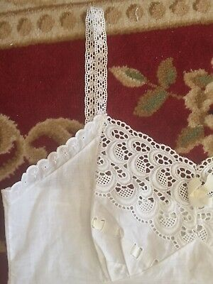Vintage 1950s Cotton Slip Embroidered Crescent Moons Lace