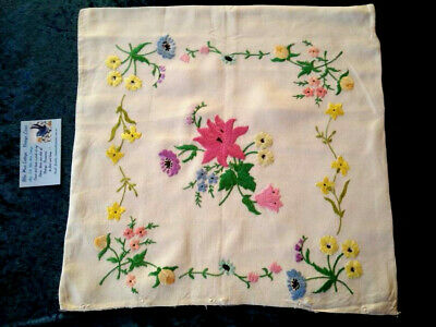 Stunning 4 Matching Pattern Floral Cushion Covers  Vintage Hand Embroidered