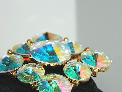 Stunning Estate Find Vintage WEISS Huge Watermelon Pyramid Rhinestone Pin/Brooch