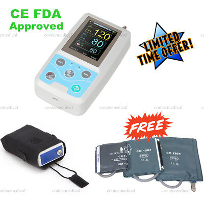 ABPM50 24h Arm Ambulatory Blood Pressure Monitor NIBP Machine+ 3 Cuffs+ Software