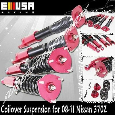 Full Adjustable Coilover Suspension Lowering Kits RED for 08-11 Nissan 370Z