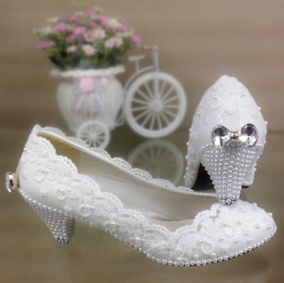 High Bridal Wedding White Pump Flats Women's Low Heel Crystal Lace Shoes