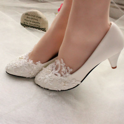White Lace Dance Flat/3/5/8CM Pearl Bridal Formal Bridesmade Party Wedding Shoes